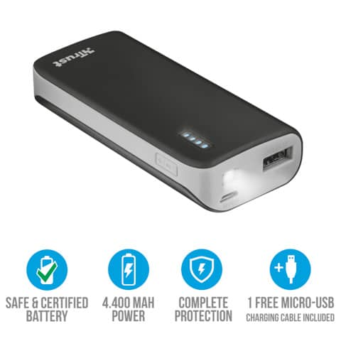 Caricatore portatile Powerbank 4400 Trust Primo nero 21224