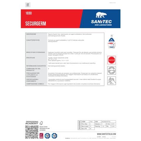 Sapone liquido Sanitec Securgerm 2 antibatterici clorexidina e acido lattico - flacone 1000 ml - 1030 Immagine del prodotto Produktdatenblatt XL