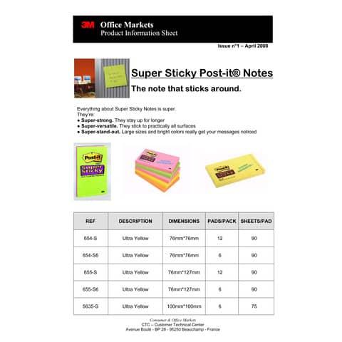 Foglietti riposizionabili Post-it® Super Sticky Notes 76x124 mm 90 ff giallo oro - 655-S Immagine del prodotto Produktdatenblatt 1 XL