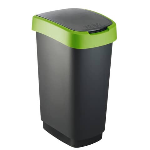 Cestino gettacarte Rotho con coperchio basculante nero/verde - 50 l F600028