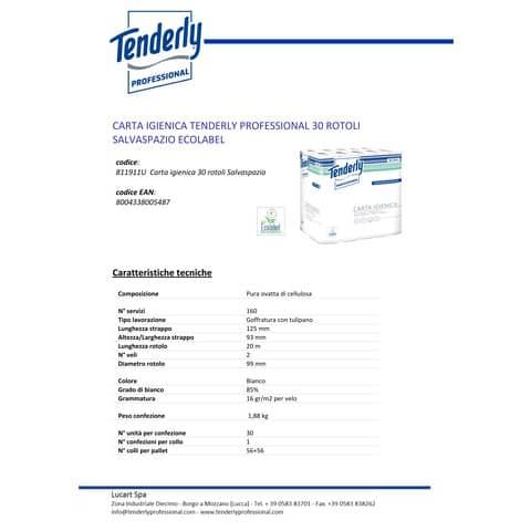 Carta igienica Tenderly salvaspazio 2 veli 30 rotoli da 160 strappi - 811911U Immagine del prodotto Produktdatenblatt XL