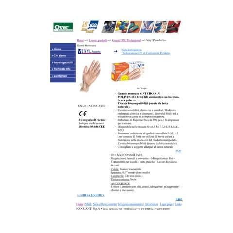 Guanti in vinile senza polvere Icoguanti M trasparenti scatola da 100 guanti - EVSP/MEDIA Immagine del prodotto Produktdatenblatt XL