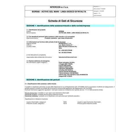 Gel igienizzante mani (alcol 70%) 500 ml con dosatore - Active linea Bosco di Rivalta - flacone trasparente cilindrico Immagine del prodotto Sicherheitsdatenblatt XL
