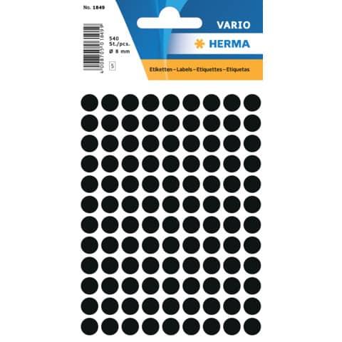 Haftetiketten D8mm schwarz Produktbild