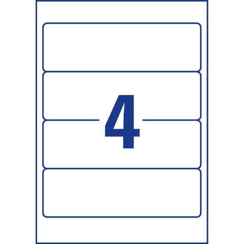 Etichette bianche per raccoglitori Avery Ultragrip™ 61x192 mm - 4 et/foglio - stampanti laser - Conf 25 fogli L4761-25 Immagine del prodotto Piktogramm XL