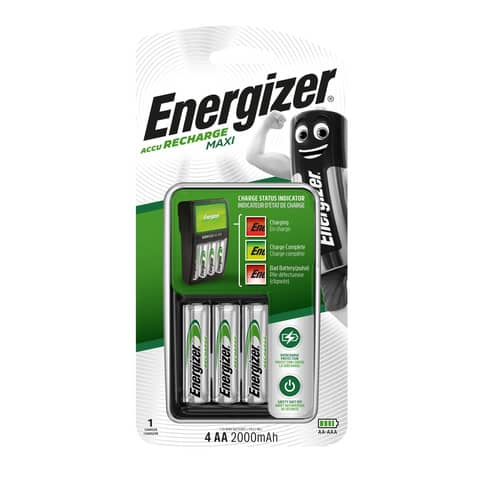 Caricabatterie ENERGIZER Maxi Charger 2000mAh incluse 4 batterie Power Plus AA - E300321202