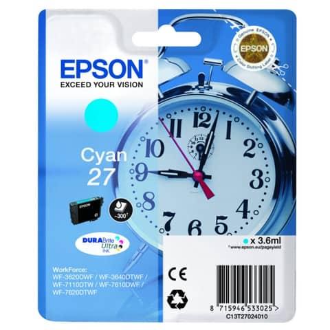 Cartuccia inkjet Sveglia 27 Epson ciano  C13T27024012