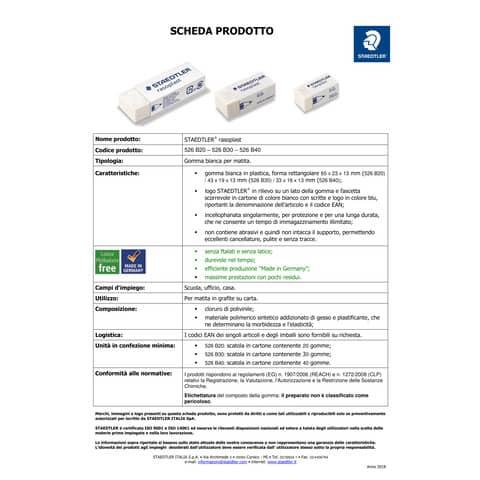 Gomma Staedtler Rasoplast 526 B20 bianca  526 B20 Immagine del prodotto Produktdatenblatt XL