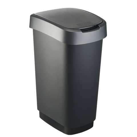 Cestino gettacarte Rotho con coperchio basculante nero/grigio - 50 l F600029