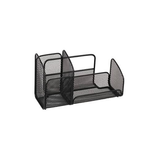 Portaoggetti da scrivania ALBA 21x10x12,4 cm metallo traforato nero MESHTRI N