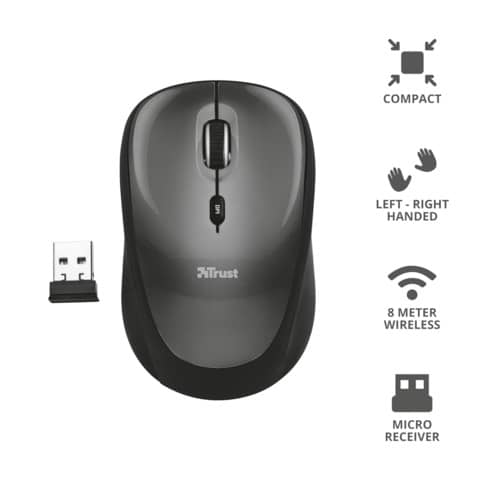 Mouse ottico wireless Trust Yvi nero  18519