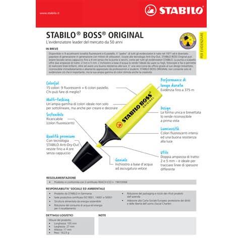 Evidenziatori Stabilo Boss Original 2-5 mm assortiti conf. 6 pezzi - 70/6 Immagine del prodotto Produktdatenblatt XL