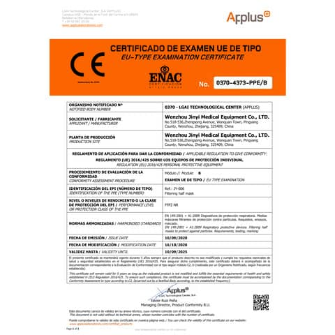 Mascherine monouso FFP2 - Certificazione CE 0370 - bianche - Scatola da 10 pezzi confezionati singolarmente - JY-006 Immagine del prodotto Produktdatenblatt XL