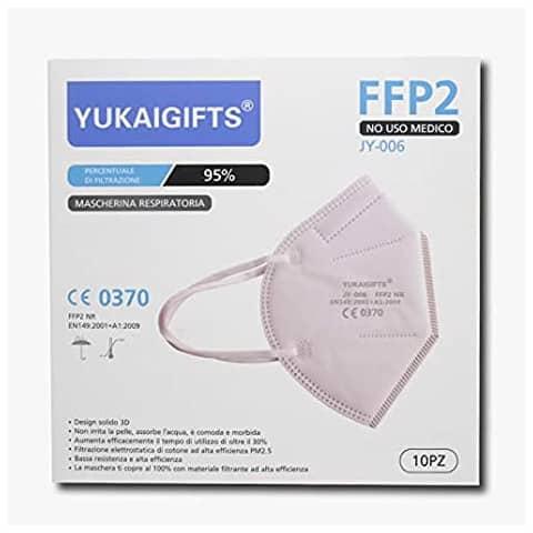 Mascherine monouso FFP2 - Certificazione CE 0370 - bianche - Scatola da 10 pezzi confezionati singolarmente - JY-006 Immagine del prodotto
