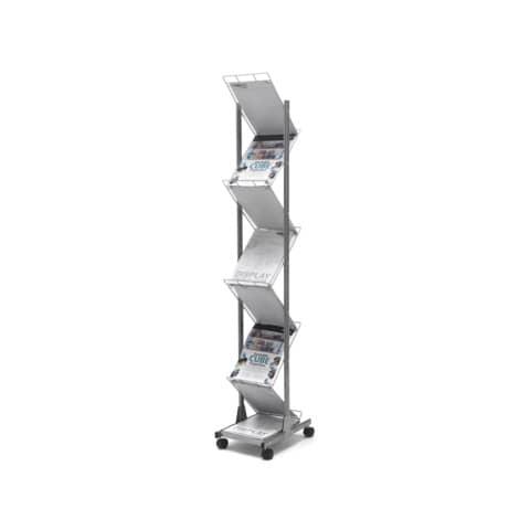 Espositore da terra deflecto® A4 in alluminio a 7 scomparti con rotelle argento - 35900