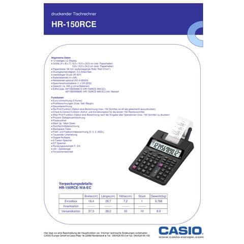 Tischrechner 12-stellig druckend CASIO HR-150RCE Produktbild Produktdatenblatt XL
