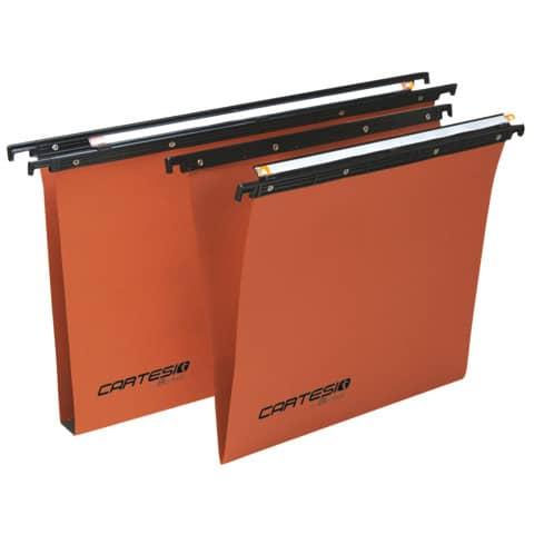 Cartella sospese orizzontali per cassetti CARTESIO 33 cm fondo V arancio Conf. 50 pezzi - 100/330-B2