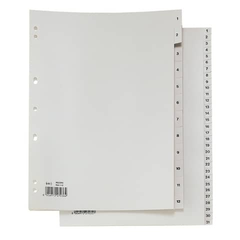 Separatori numerici a 31 tasti in PP Sei Rota Record 1-31 grigio 581301