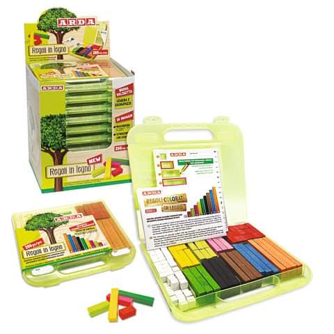 Regoli ARDA 10 misure/10 colori in legno colorato Conf. 200 pezzi - 123