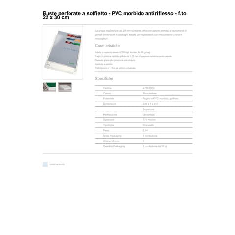 Buste perforate a soffietto Leitz in PVC A4 trasparente confezione da 10 pezzi - 47561003 Immagine del prodotto Produktdatenblatt XL