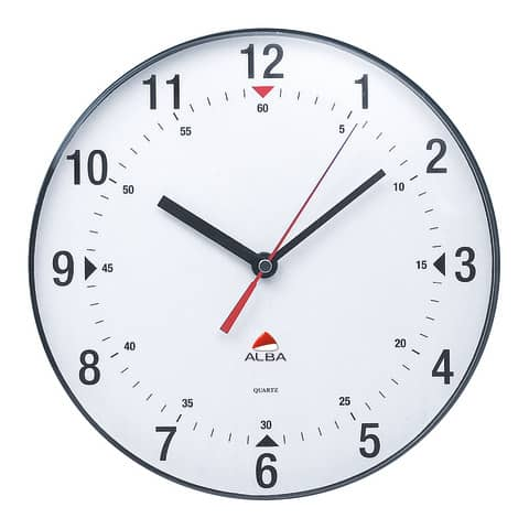 Orologio da parete Alba lente plastica numeri neri su sfondo bianco. Lancetta secondi rossa, pile LR6/AA - HORCLAS