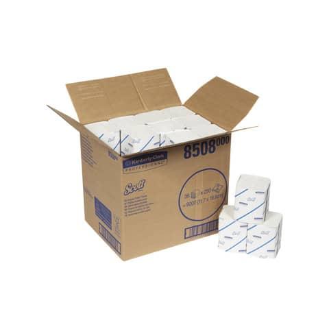 Carta igienica piegata SCOTT® in carta riciclata 250 strappi bianco 36 rotoli - 8508