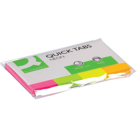 Segnapagina Q-Connect Index Marker neon 20x50 mm assortiti dispenser 4 blocchetti da 50 - KF01226