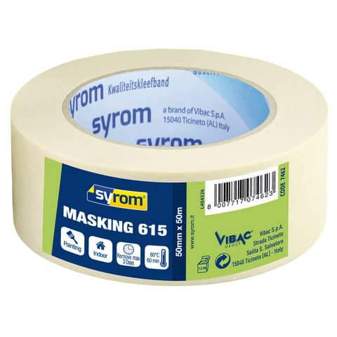 Nastro adesivo in carta Masking 615 SYROM avorio formato 50 mm x 50 m 7462