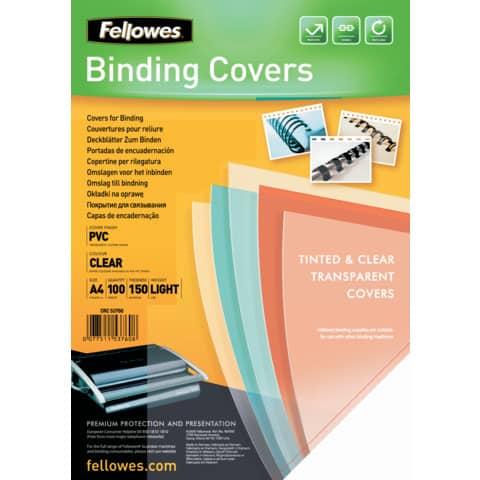 Copertine per rilegatrici FELLOWES Clear PVC A4 150my conf.100 pz - 5376001