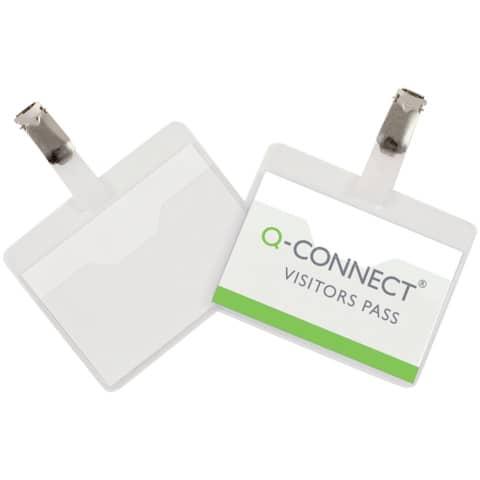 Portabadge Q-Connect plastica 90x60 mm con clip apertura superiore conf. da 25 - KF01560