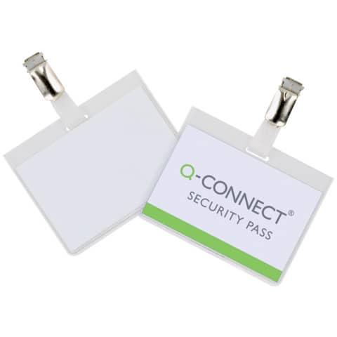 Portabadge Q-Connect plastica 90x60 mm con clip apertura laterale Confezione da 25 pezzi - KF01562