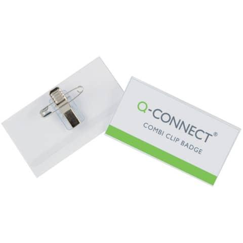 Portabadge Q-Connect plastica con clip e spilla 75x40 mm conf. da 50 - KF01568